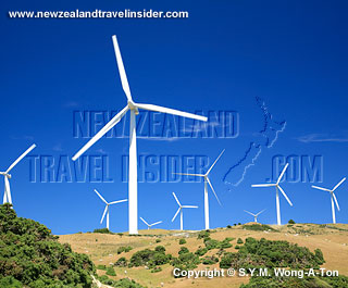 Wellington wind turbines on the North Island of New Zealand